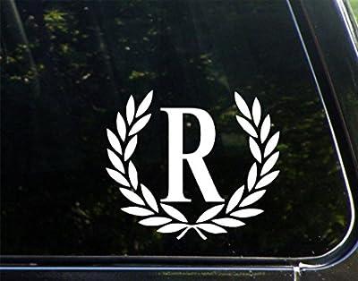 "Letter R, MEDIUM SIZE, Decorative Monogram - 6-3/4"" x 5-3-/4""- Vinyl Die Cut Decal / Bumper Sticker For Windows, Trucks, Cars, Laptops, Mailboxes, Tumblers, Glasses. Mugs, Etc."