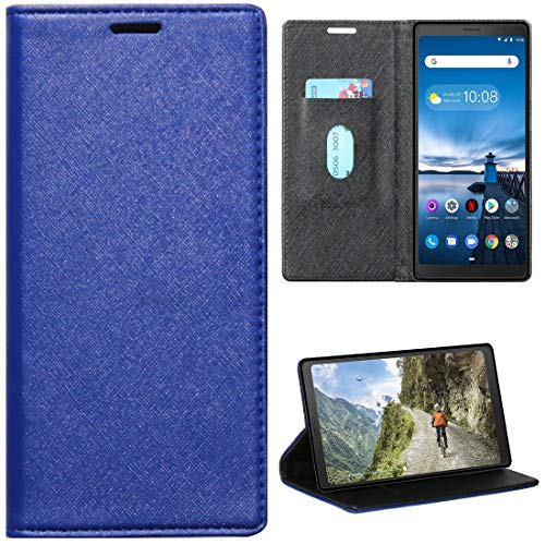 Zaoma Diary Type Pu Leather Flip Case Cover for Lenovo Tab V7 Model Number: ZA4L0020IN / ZA4L0052IN – (Executive Blue)