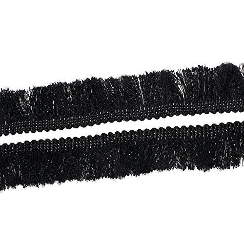 """Souarts Cotton Fringe Tassel Trim 25mm 1"""" Wide 5 Yards Black"""
