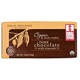 Equal Exchange Organic 55% Dark Almond Chocolate Bar, 2.82 Oz, 6 Pack 1 ORGANIC 55% DARK CHOCOLATE WITH ALMONDS ORGANIC INGREDIENTS SMALL FARMER GROWN