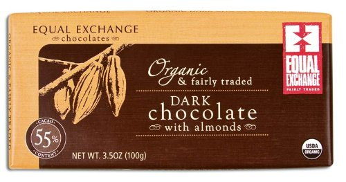 Equal Exchange Organic 55% Dark Almond Chocolate Bar, 2.82 Oz, 6 Pack 1 ORGANIC 55% DARK CHOCOLATE WITH ALMONDS ORGANIC INGREDIENTS SMALL FARMER GROWN