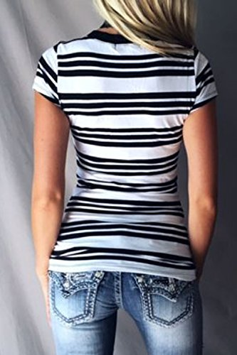 La Mujer Casual De Manga Corta Camisetas Blusas A Rayas Con Cuello En V Profundo Colorblock Black
