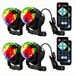 Litake Party Lights Disco Ball Strobe Light Disco Lights, 7 Colors Sound Activated Stage Light with Remote Control for Festival Bar Club Party Wedding Show Home-4 Pack from Litake