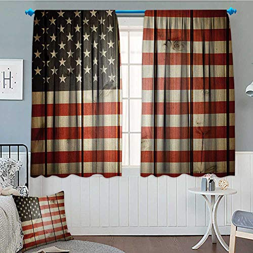 alilihome American Flag Patterned Drape for Glass Door USA Flag Over Vertical Striped Wooden Board Citizen Solidarity Kitsch Artwork Waterproof Window Curtain 63