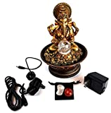 Ganesha Water Fountain Bundle with Colored Light, Rolling Ball and 2 Healing Stones (4 Pc Bundle) BY Imprints Plus (27337)