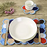 ZORJAR Placemats for Kitchen Coasters Doilies Round Handmade Crochet Circle Colorful Design Cotton Lace Glass Coffee Dining Table Mats Set of 2
