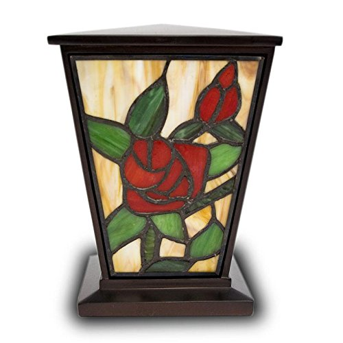 OneWorld Memorials Rose Stained Glass Red Rose Cremation Urn - Medium Multi urns for Human Ashes - Custom Engraving Included