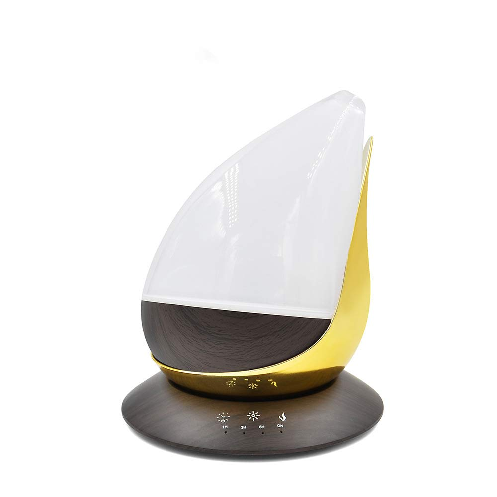 QSCA Creative Aromatherapy Machine humidifier Home Small appliances Gift Colorful Aromatherapy Machine Diffuser ultrasonic humidifier-Deep Wood Grain Local Gold Leaf by QSCA
