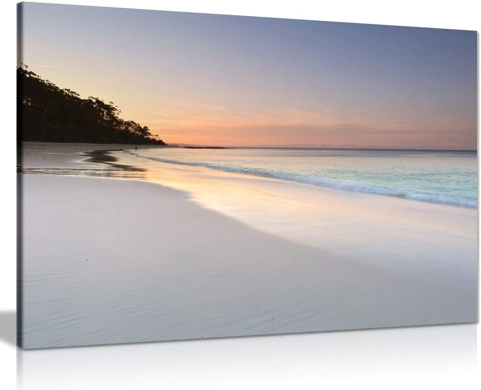 Amazon Com Pretty Soft Colours Beach Sky And Sand Seaside Canvas Wall Art Picture Print 30x20in Posters Prints