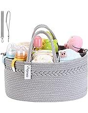 Hinwo Babyluier Caddy 3-voudig zuigelingen kinderkamer boodschappentas draagbare auto-organizer pasgeborenen douche cadeaumand katoenen touw met afneembare verdeler voor luiers en doeken