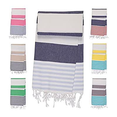 MARINA Pestemal Turkish Beach Bath Towel - Hammam Turkish Towels - 100% cotton - Prewashed Peshtemal Beach Towels (Navy BLue/Sky Blue) -  - bathroom-linens, bathroom, bath-towels - 51g18Ro0IVL. SS400  -