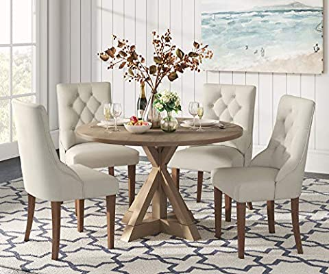 Amazon Com Finch Alfred Round Solid Wood Rustic Dining Table For Farmhouse Kitchen Room Decor Wooden Trestle Pedestal Base 47 Wide Circular Tabletop Distressed Beige Tables
