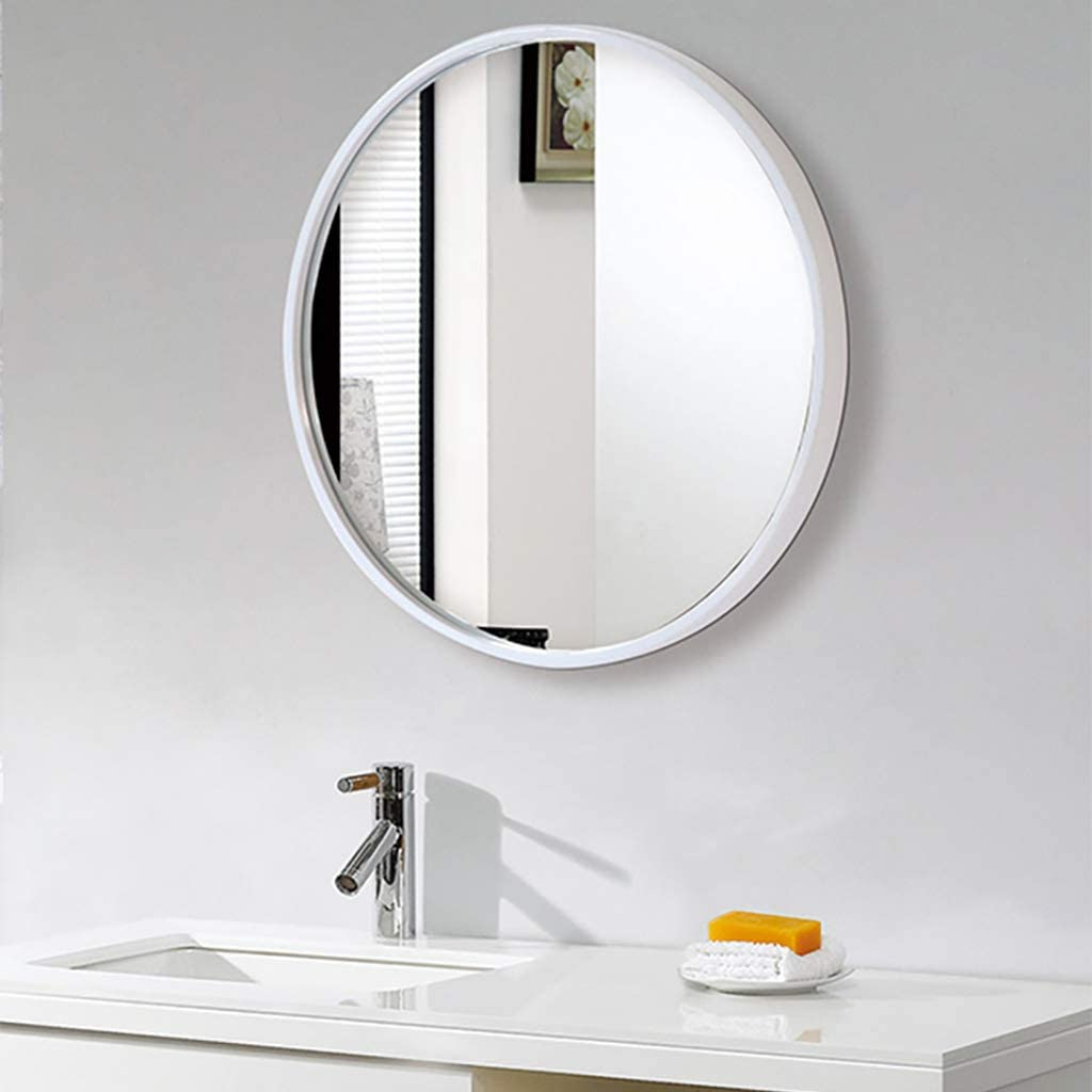 40cm Espejo-espejo de ba/ño espejo de vidrio montado en la pared WZP//Blanco espejo de ba/ño redondo de marco de hierro de moda simple