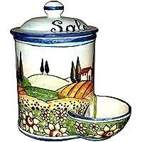 CERAMICHE D'ARTE PARRINI- Italian Ceramic Jar Salt Holder Decorated Sunflower Landscape Hand Painted Made in ITALY Tuscan Art Pottery