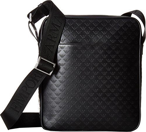 Emporio Armani  Men's Eagle Embossed Messenger Bag Black One - Men Bag Armani
