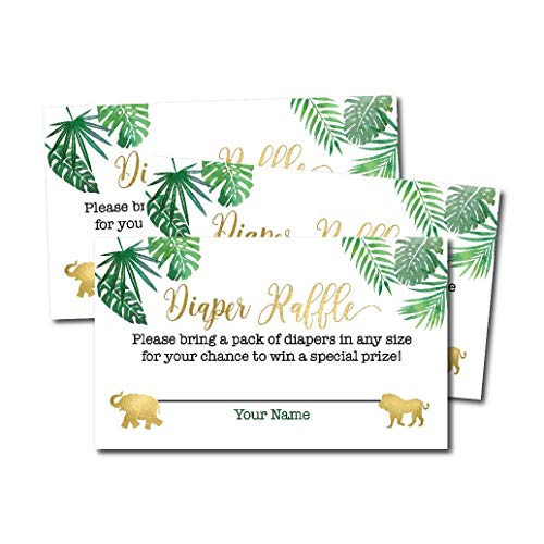 25 Safari Diaper Raffle Ticket Lottery Insert Cards for Girl or Boy Baby Shower Invitations, Supplies and Games for Neutral Gender Reveal Party, Bring a Pack of Diapers to Win - Game Shower Diaper Baby Favor