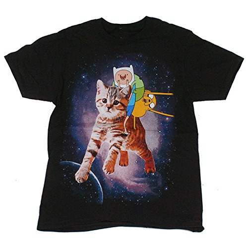 Adventure Time Finn Jake Space Mens T-Shirt, Black (L)