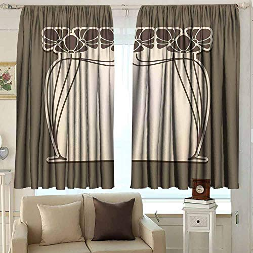 XXANS Sliding Door Curtain,Art Nouveau,Rod Pocket Drapes Thermal Insulated Panels Home décor,W55x72L Inches Cream Umber Brown