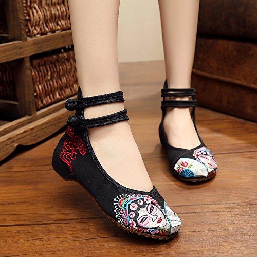 WHH Ópera de Pekín Zapatos bordados, lenguado de tendón, estilo étnico, hembrashoes, moda, cómodos zapatos de lona Black