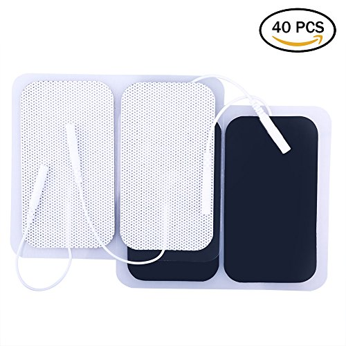 LotFancy 40PCS Rectangular TENS Unit Electrode Pads with Premium Adhesive Gel for TENS EMS & Muscle Stimulators, Comfortable Soft Cloth Backing (2 x 3.5 - Electrodes 40 Rectangle