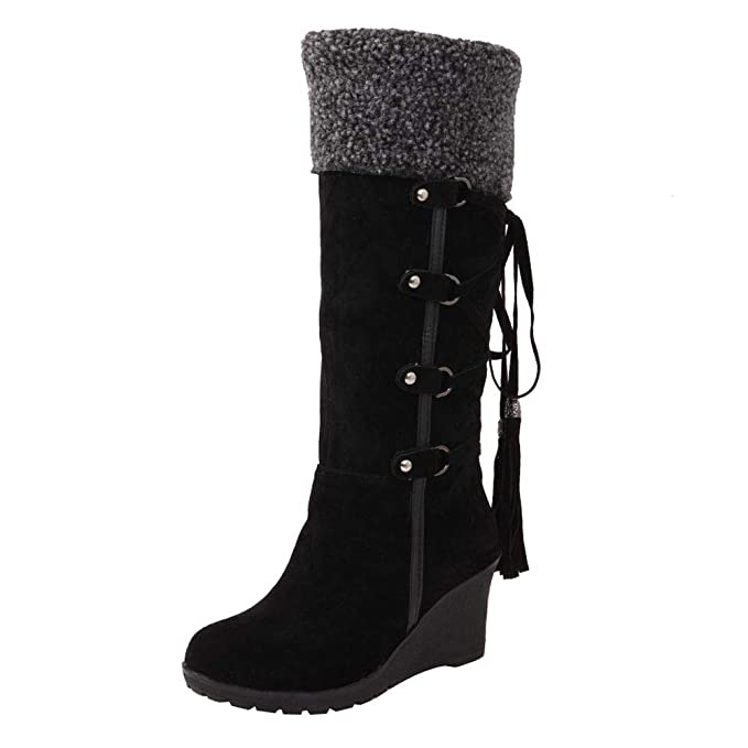 d565cd8e7555 Anshinto Womens Booties Women s After Sanding with Tassels High Boots  Sleeves Wedges Flock Snow Boots (