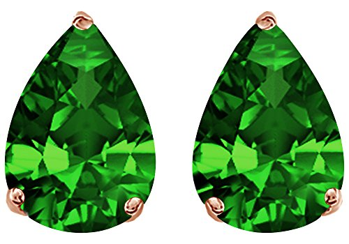 Simulated Green Emerald Pear Shape Stud Earrings In 14K Rose Gold Over Sterling Silver (1 (Green Pear Earrings)