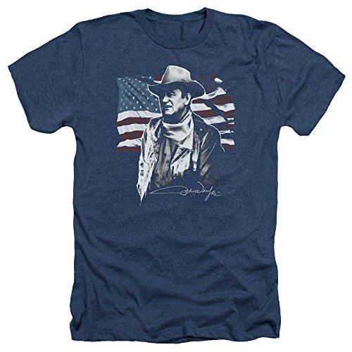 John Wayne Hollywood Icon American Legend Flag Adult Heather T-Shirt Tee XL