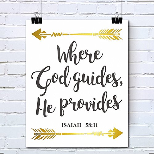 Bible Verses Gold Foil Wall Art Decor Quotes Printed - Inspirational Room Office Decal Posters - 8x10 inches (ISAIAH :58:11)