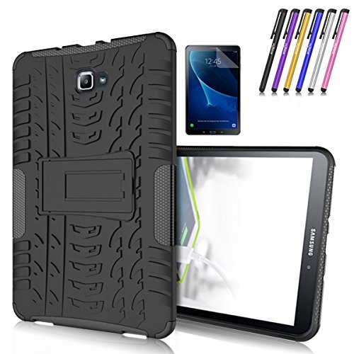 Galaxy Tab A 10.1 Case, Windrew Heavy Duty Hybrid Protective Case with Kickstand Impact Resistant For Samsung Galaxy Tab A 10.1 Inch SM-T580 SM-T585 + Screen Protector Film and Stylus Pen (Black) - Kickstand Wrap Case