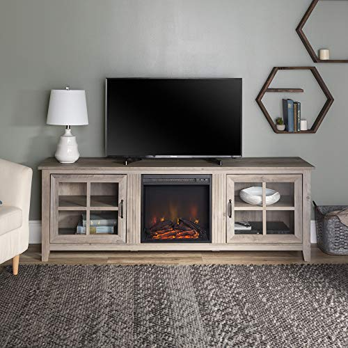 WE Furniture Fireplace TV Stand, Grey Wash
