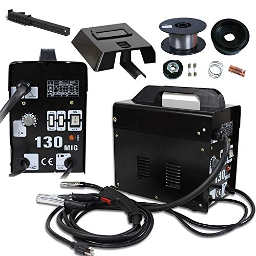 Black Commercial MIG 130 Auto Feeder Core Wire Welder Welding Machine With Spool Wire & Fan N Gas-less Flux AC Current Wire Automatic Feed w/Free Mask 110 V Safety Protection Equipment