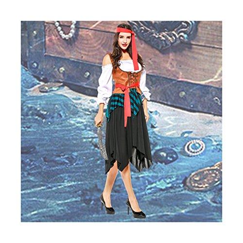 Deer Mum Women Caribbean Cosplay Costumes Pirate Dress Halloween Outfits 4 Pieces -