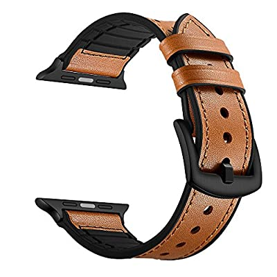 Leather Band for Apple Watch Band 38mm 42mm Soft Silicone Sport Bands with Stainless Metal Buckle Clasp iwatch Series 1 2 3 Replacement Strap from OXWALLEN