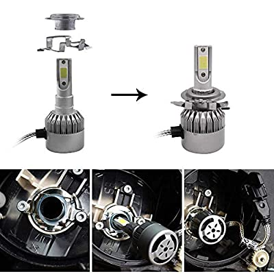 BlyilyB 4-Pack H7 LED Headlight Adapter Holders Retainers Compatible To A3 A4 A6 E60 E61 X5 Z4 E-class ML class C-class MK6 Jetta Magotan Bora Regal Excelle QASHQAI X-Trail Chrysler Fusion Pacifica: Automotive