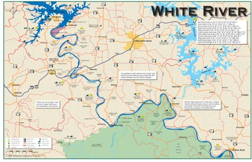 White River Arkansas Map Amazon.: White River 11x17 Fly Fishing River Map : Outdoor