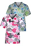 MedPro Women's Printed Mock Wrap Medical Scrub Top Multi Pack Green White L