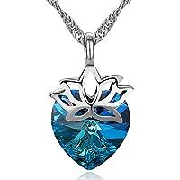 S. Wyatt Blue Heart Swarovski Crystal Necklace for Women