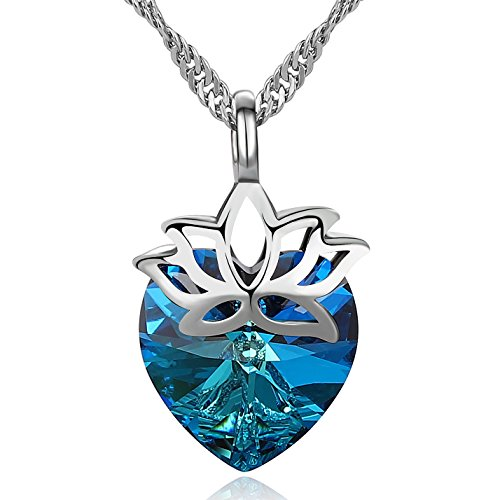 (Heart Pendant Necklace for Women - Platinum Plated Solitaire Blue Lotus Swarovski Crystal Necklace Jewelry Gift for)