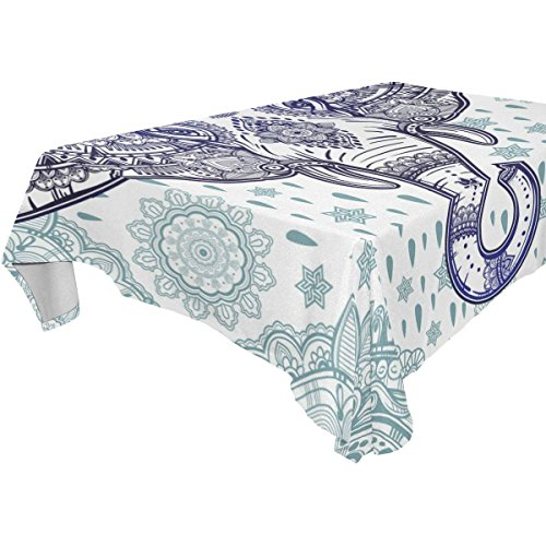 Rectangular Bohemian Elephant Paisley Floral Tablecloth Table Cloth Cover for Home Decor Dinner Kitchen Party Picnic Wedding Halloween Christmas 60 x 120 -