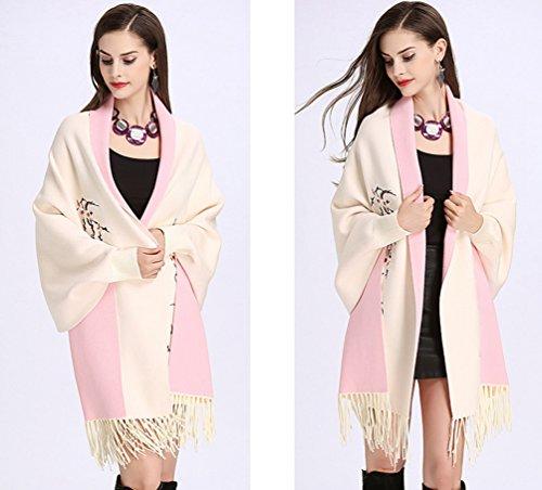 Suéter Cárdigan Abrigo De Punto Blanco WanYang Chal Pañuelos rosa Mujeres Bordados Creativo Del Mujer Para De Pv4vtR