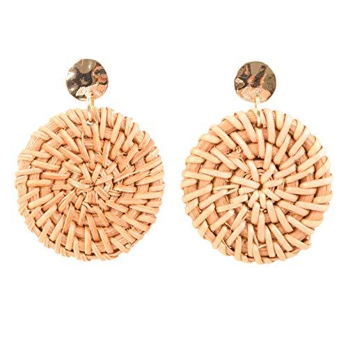 RIVERTREE Women Rattan Earring Statement Straw Woven Drop Dangle Earrings Lightweight - Handmade Hollow Hoop Wicker Braid Hammered Stud