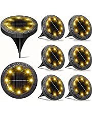 Solar Powered Ground Lights 8Pack,Waterproof LED Solar Lights Outdoor Garden Decorative Solar Disk Lights,Solar In-Ground Landscape Path Lighting for Pathway Patio Yard Walkway Lawn Fence(Warm White)