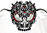 Men Devil Skull Laser Cut Venetian Masquerade Mask with Red Rhinestones Event Party Ball Mardi Gars by Kayso