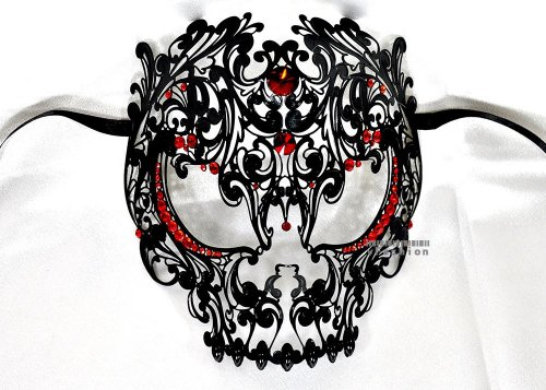 Men Devil Skull Laser Cut Venetian Masquerade Mask with Red Rhinestones Event Party Ball Mardi Gars by Kayso -