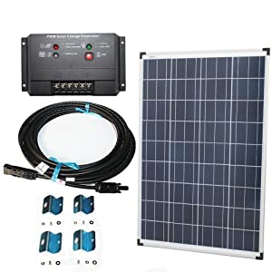 Plug-n-Power 100w Solar Panel Charging Kit for 12v Off Grid Battery - next day free shipping from U.S.