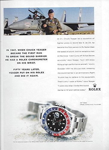 **PRINT AD** With Pilot Chuck Yeager For 1998 Master Stainless Rolex Watches **PRINT AD**