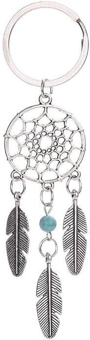 Hemlock Keychain, Feather Bag Ring Ornaments Car Key Chain Pendant (Green)