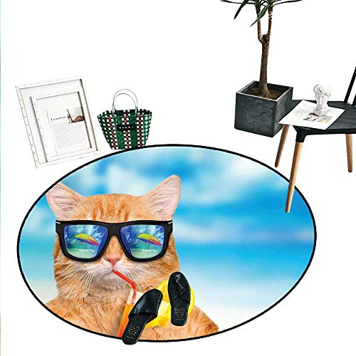 Cat Wearing Sunglasses Relaxing Cocktail in The Sea Background Summer Kitty Image Circle Rugs for Living Room (3'6