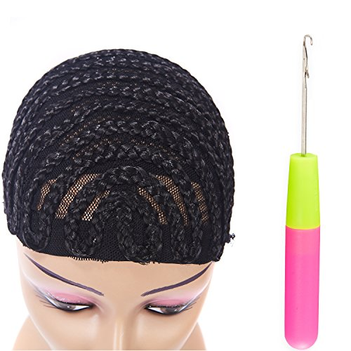 Clip in Braided Wig Caps Crochet Cornrow Cap For Easier Sew In Cap for Making Wigs Adjustable Crochet Wig Cap with 1 Free Hook Needle (S) by XFX Hair