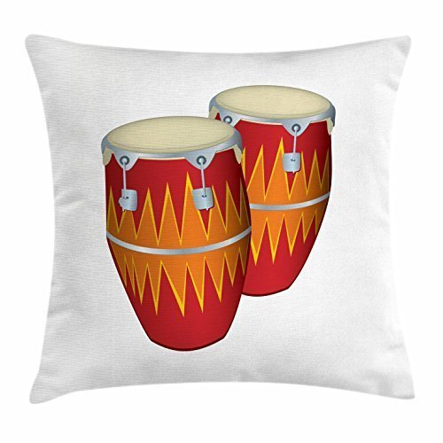 nikeely Music Throw Pillow Cushion Cover, Funky African Cuban Music Two Congas Tumbadora Folk Latin Rumba Salsa Sound Pattern, Decorative Square Accent Pillow Case, 18 X 18 Inches, Multicolor